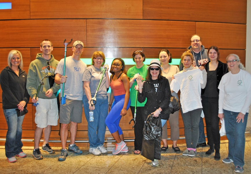 Greenleaf Hospitality Group employees volunteering to beautify downtown Kalamazoo